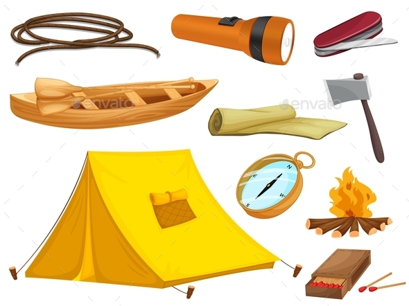 GraphicRiver Various Objects of Camping 9299722