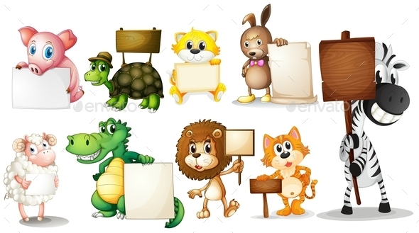 GraphicRiver Animals with Empty Signboards 9299725