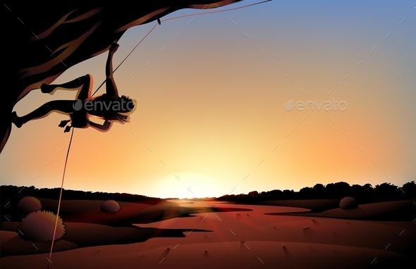 GraphicRiver Sunset View of the Desert with a Man Climbing 9299738
