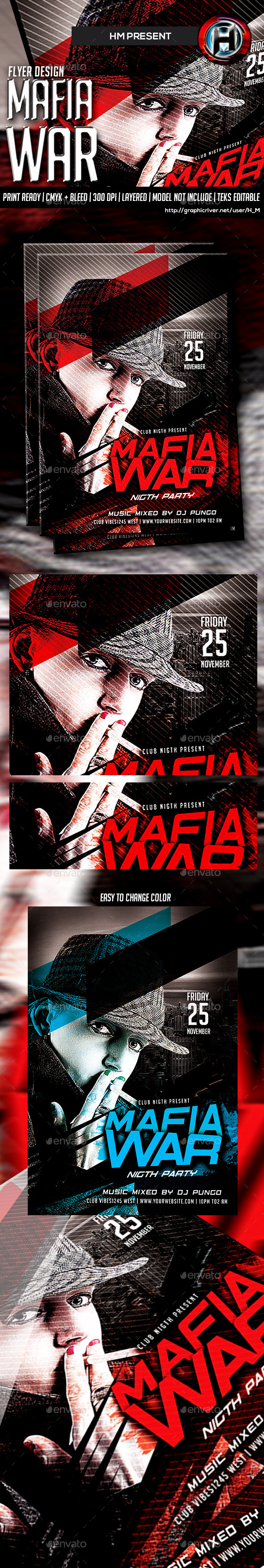 GraphicRiver Mafia War Party Flyer Template 9299822