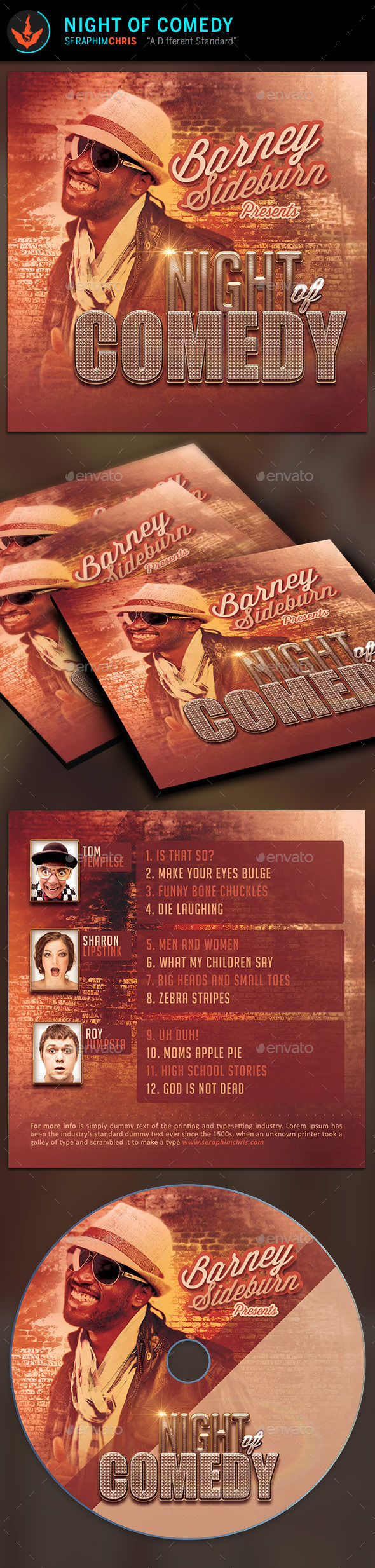 GraphicRiver Night of Comedy CD Artwork Template 9299951