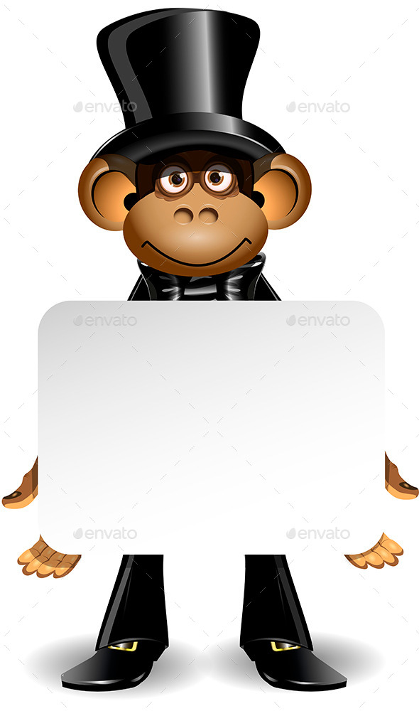 GraphicRiver Monkey in a Top Hat with White Board 9300301