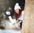Girl playing with snow - PhotoDune Item for Sale