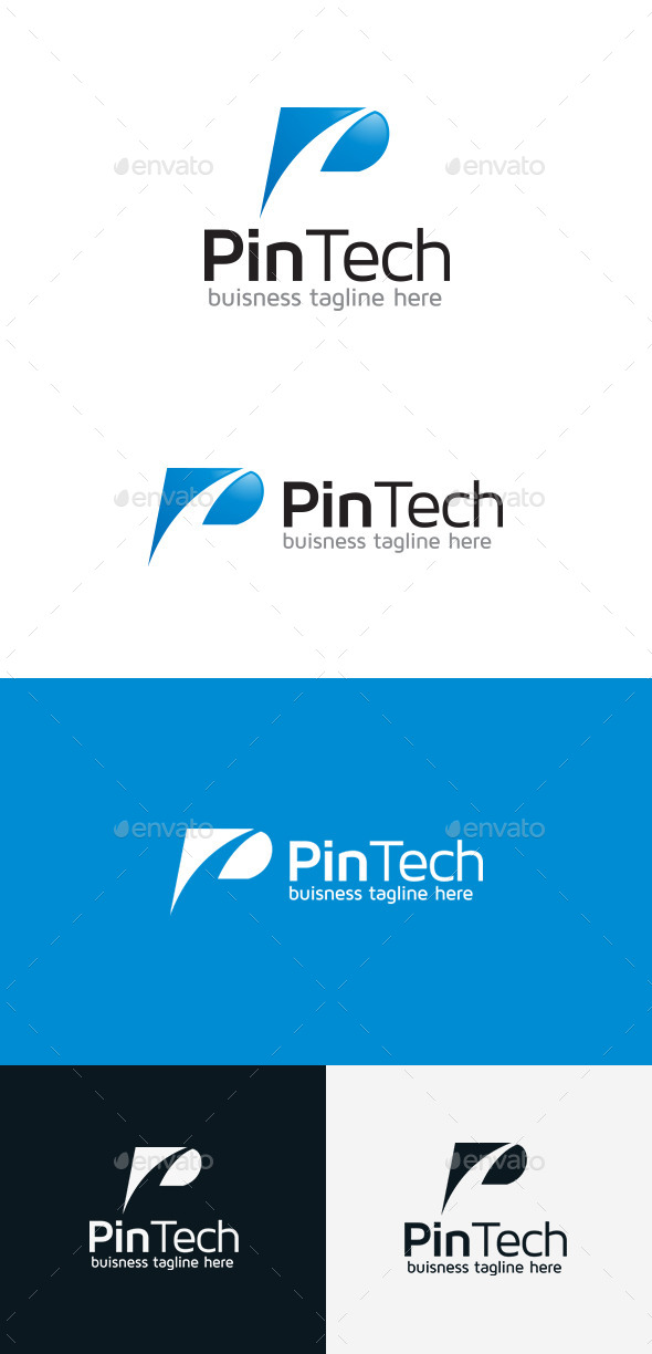GraphicRiver Pin Tech P Letter Logo 9301735