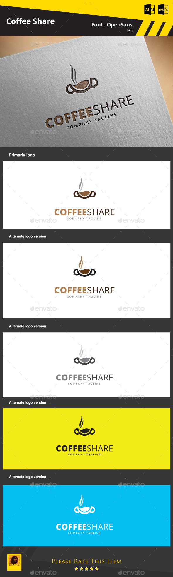 GraphicRiver Coffee Share Logo Template 9301736