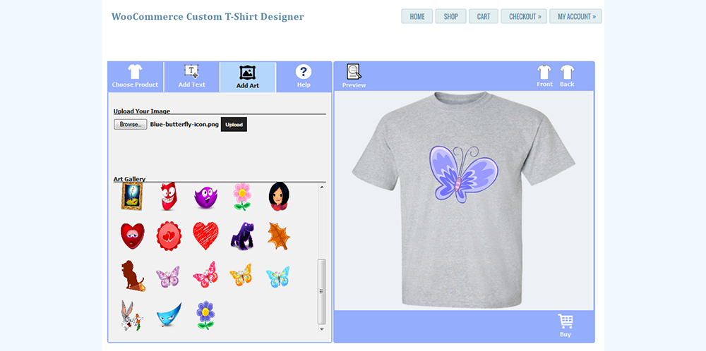 Woocommerce custom t shirt designer by wpproducts codecanyon for T shirt design maker website