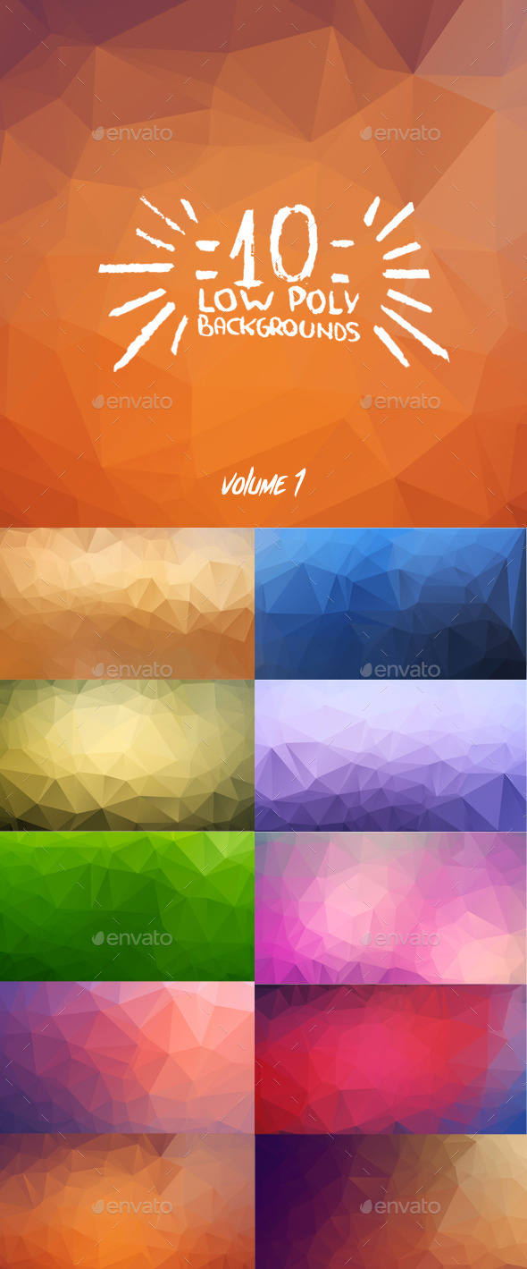 GraphicRiver 10 Low Poly Backgrounds Pack One 9244637