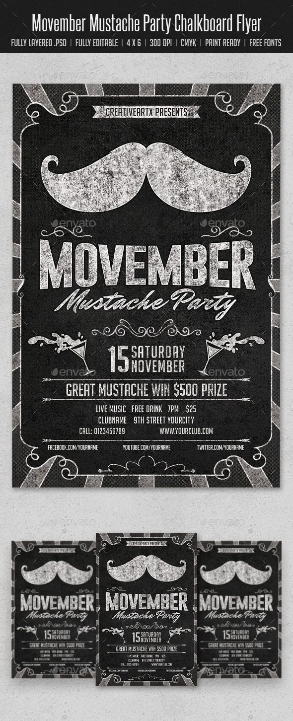 GraphicRiver Movember Mustache Party Chalkboard Flyer 9304569