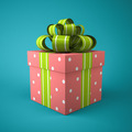 Pink gift box on blue background - PhotoDune Item for Sale