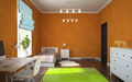 Part of interior modern childroom with orange walls 3D rendering - PhotoDune Item for Sale