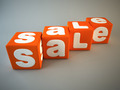 Sale word on orange fabric cubes 3D - PhotoDune Item for Sale