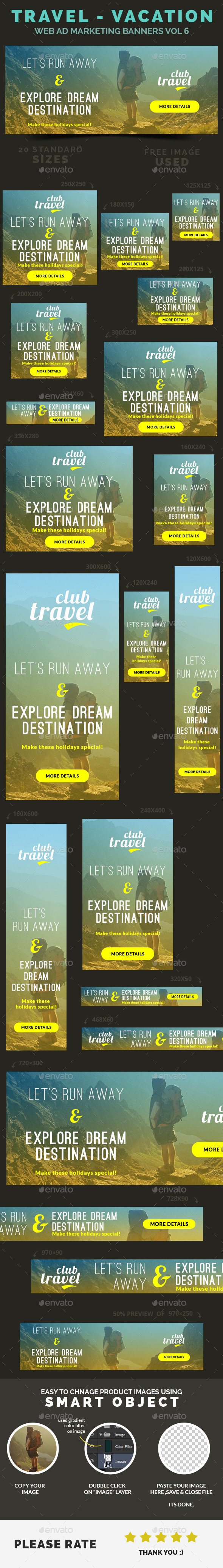 GraphicRiver Travel Vacation Web Ad Marketing Banners Vol 6 9305436