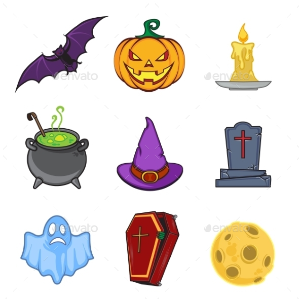 GraphicRiver Halloween Cartoon Icon Objects 9305612