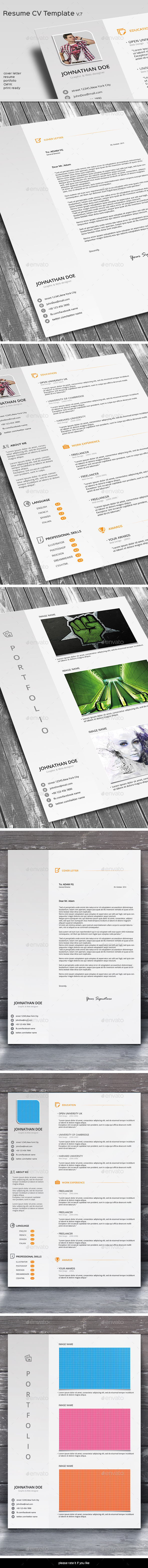GraphicRiver Resume CV Template V.7 9305706