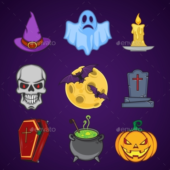 GraphicRiver Halloween Cartoon Icon Objects 9305924