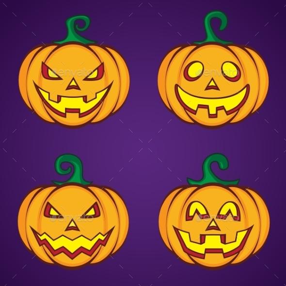 GraphicRiver Halloween Cartoon Pumpkin Jack O Lantern 9305958