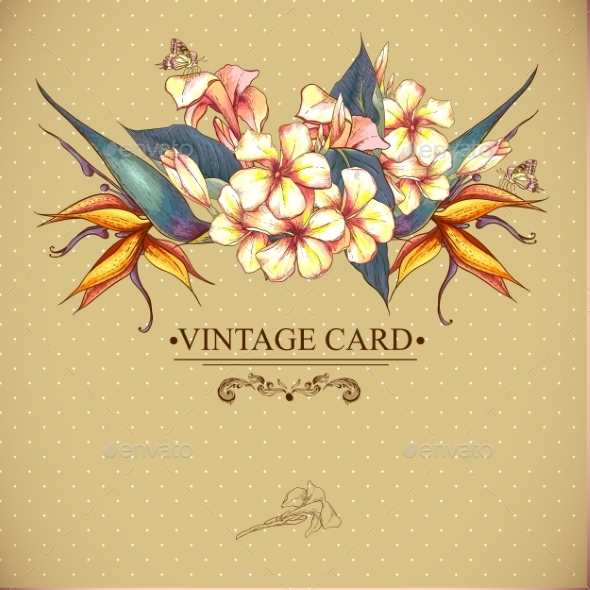 GraphicRiver Floral Vintage Card with Exotic Flowers 9306401