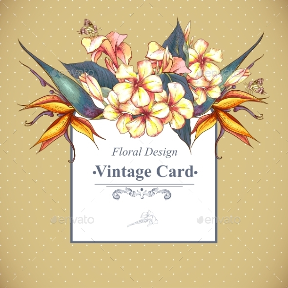 GraphicRiver Floral Vintage Card with Exotic Flowers 9306506
