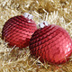 Two red Christmas baubles on golden tinsel - PhotoDune Item for Sale