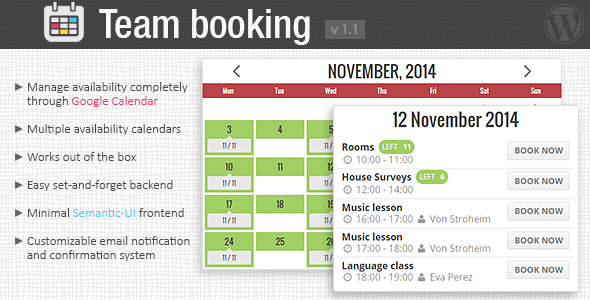 CodeCanyon Team Booking WordPress booking system 9211794