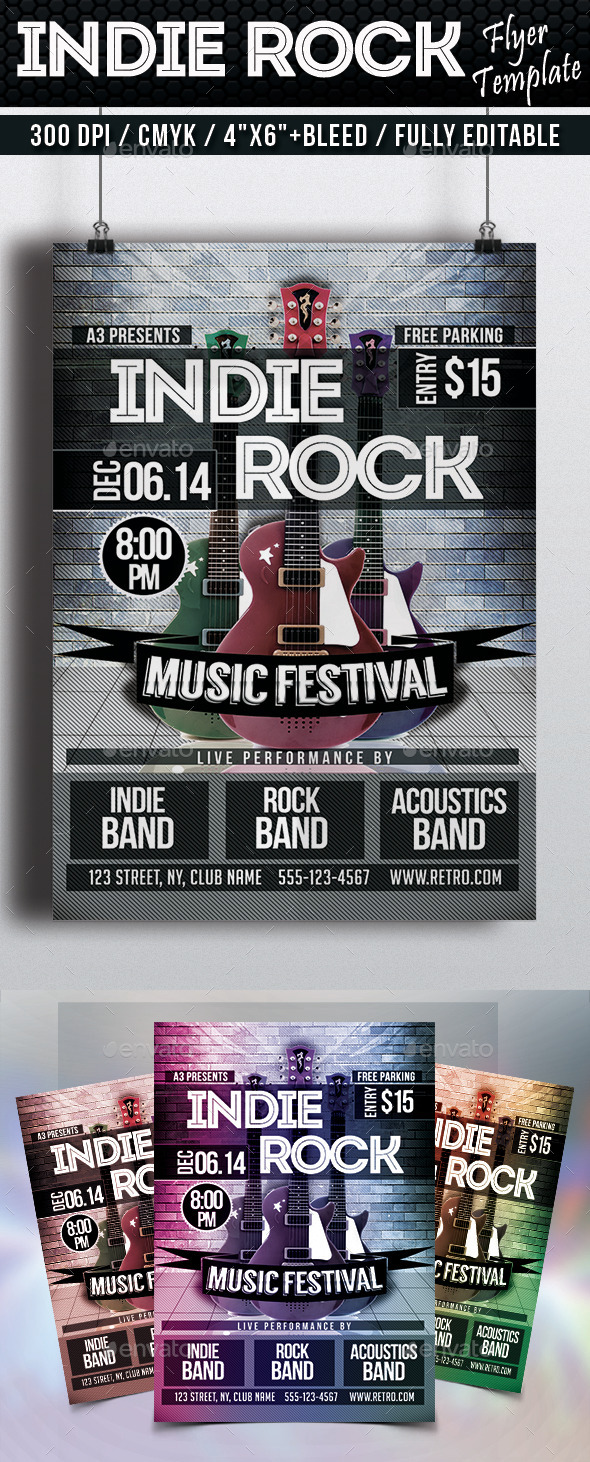 GraphicRiver Indie Rock Flyer Template 9308016