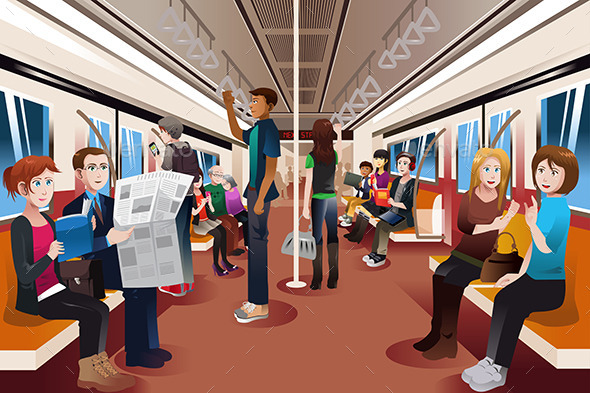 GraphicRiver Different People Inside Crowded Subway 9308300