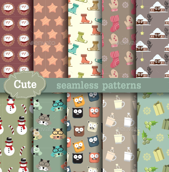 GraphicRiver Cartoon Seamless Patterns 9308849