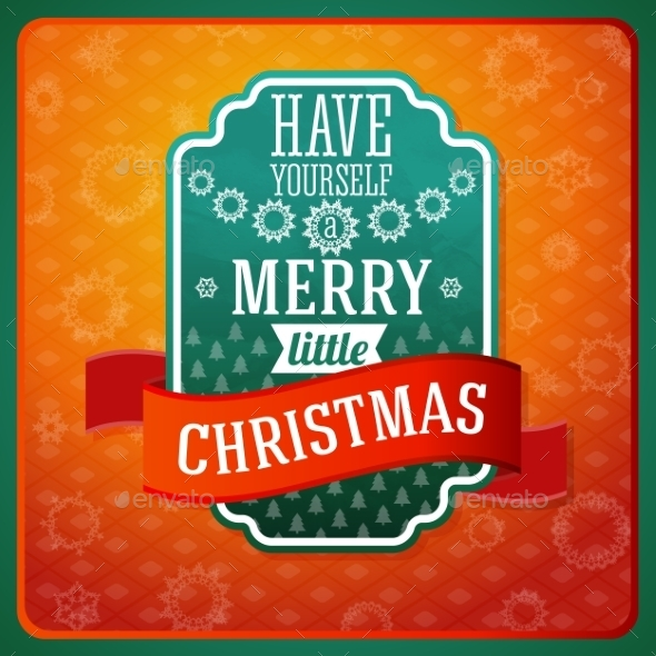 GraphicRiver Vintage Merry Little Christmas Label 9308982