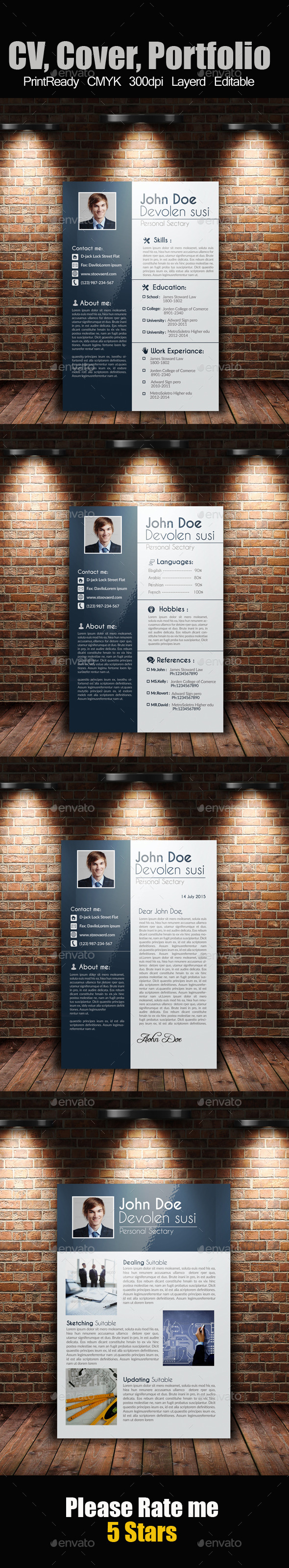 GraphicRiver Job Resume CV Cover Letter Portfolio 9309006
