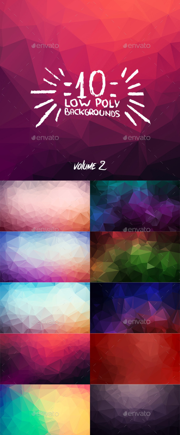 GraphicRiver 10 Low Poly Backgrounds Volume Two 9309451