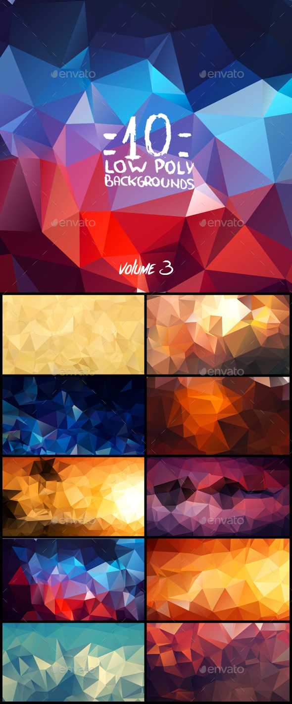 GraphicRiver 10 Low Poly Backgrounds Volume Three 9309614