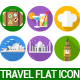 40 Travel & Landmark Travel Flat Icons Set - GraphicRiver Item for Sale