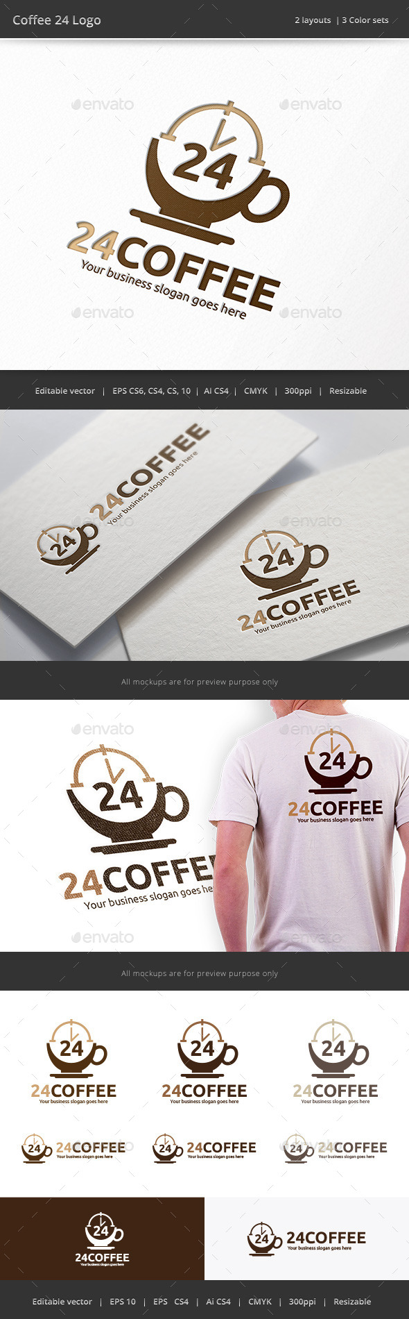 GraphicRiver Coffee 24 Hour Logo 9309842