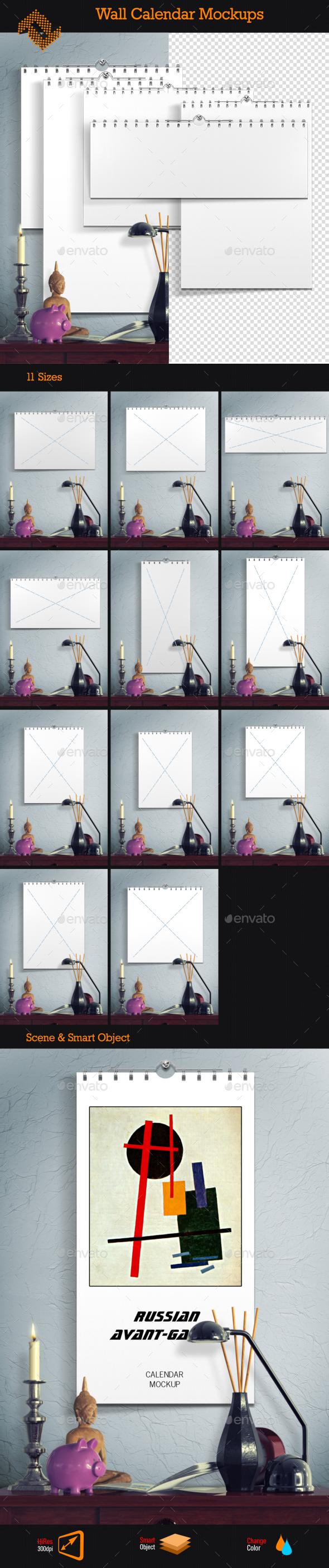 GraphicRiver Wall Calendar Mockups 9309963