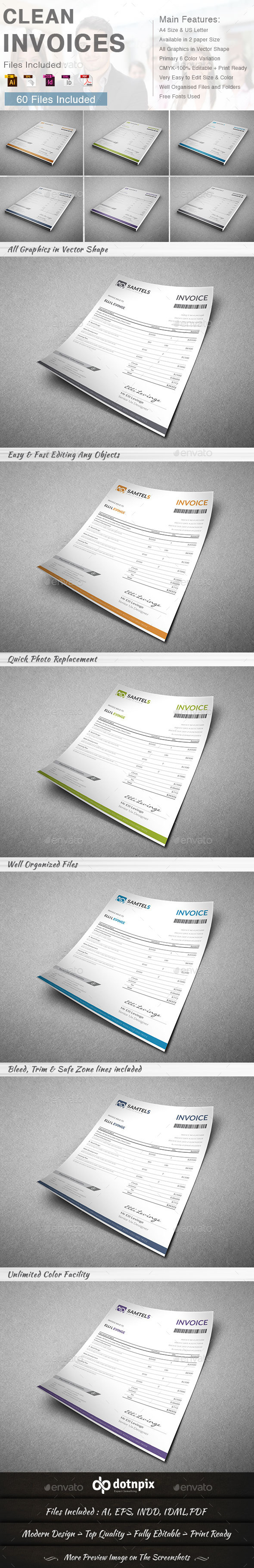 GraphicRiver Clean Invoices 6 in 1 9310227