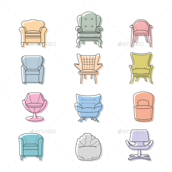 GraphicRiver Colorful Armchairs 9310729