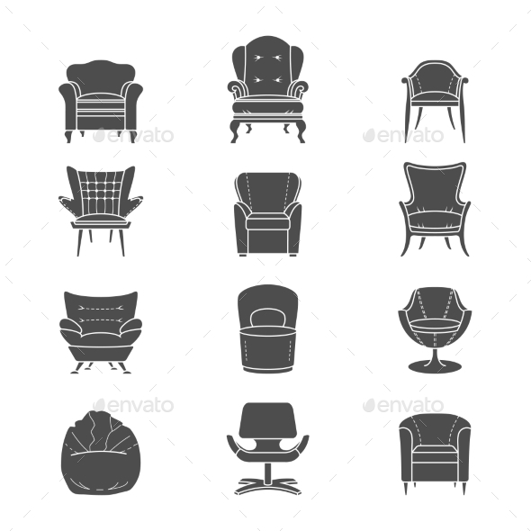 GraphicRiver Armchair Silhouettes 9310745