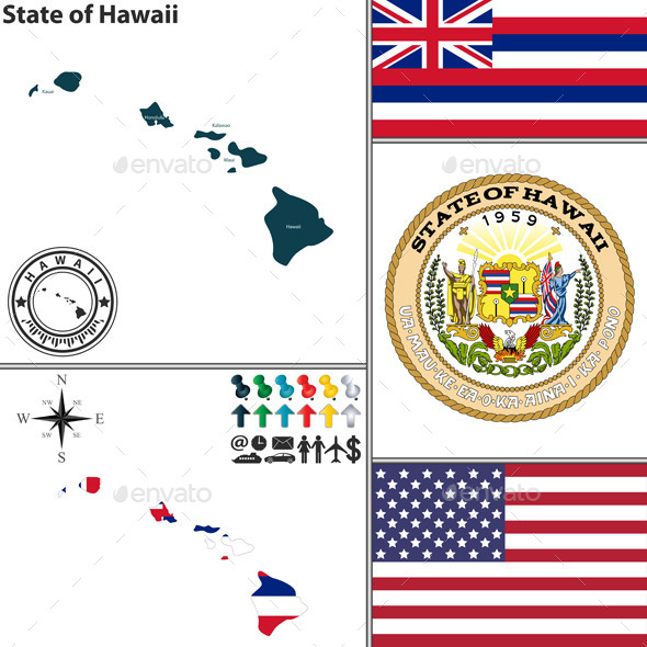 Map of State Hawaii USA