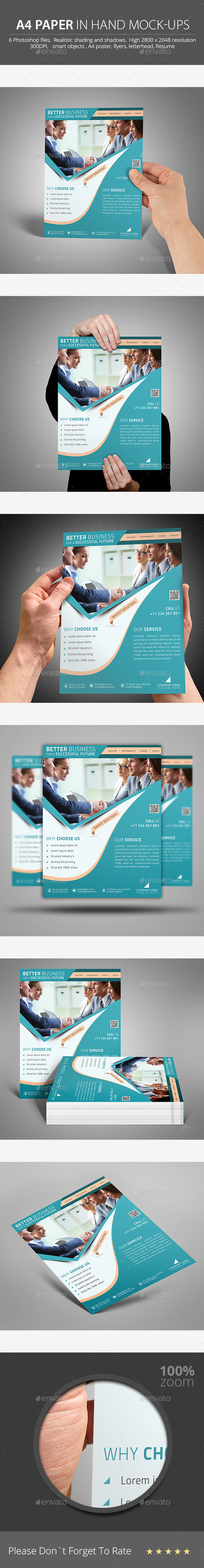 GraphicRiver A4 Paper in Hand Mock-ups 9261440