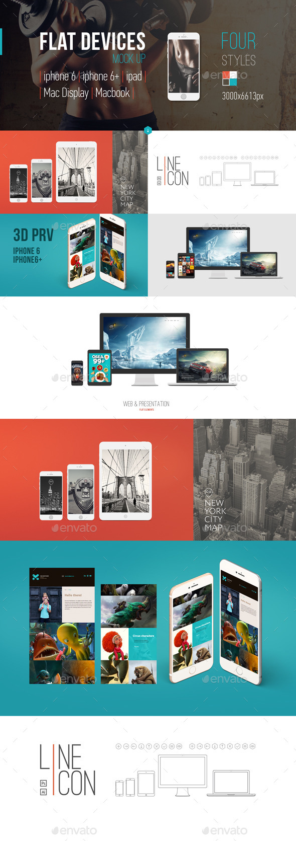 GraphicRiver Flat-style Devices Mock-Up PSD 9312580