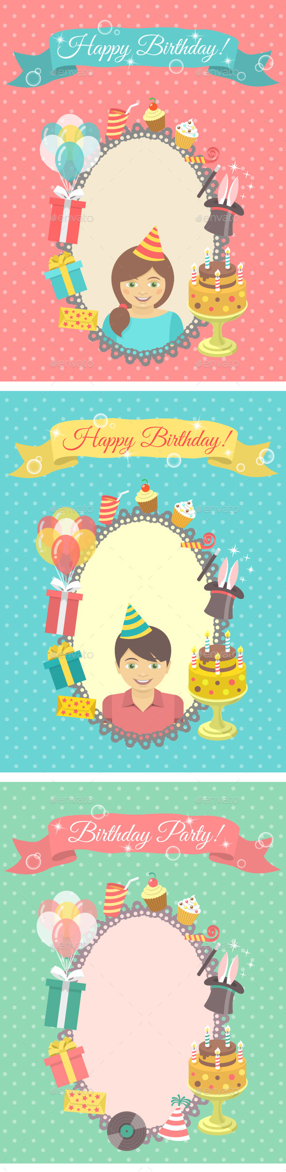GraphicRiver Happy Birthday Cards Collection 9312947