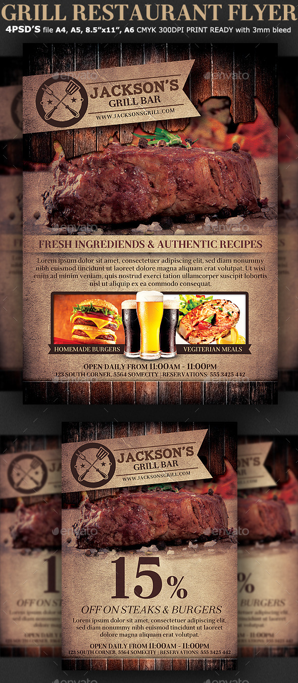 GraphicRiver Grill Restaurant Promotion Flyer Template 9314318
