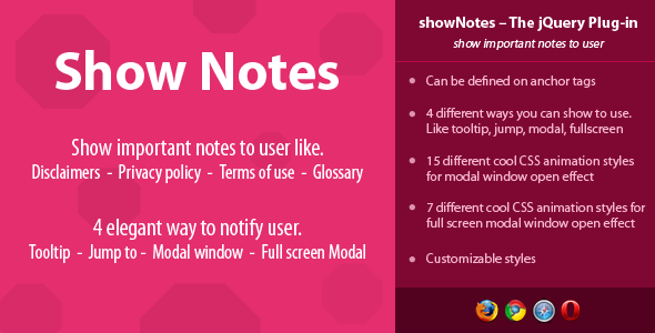 showNotes - show important notes to user