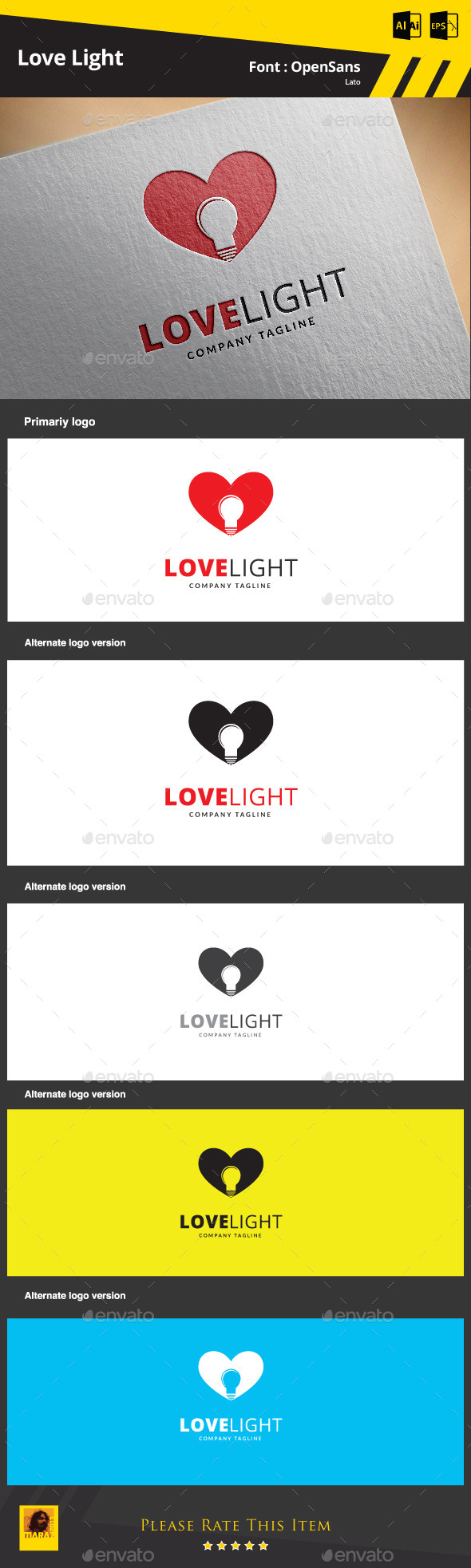 Love Light Logo Template