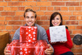 Close up Smiling Couple Holding Gift Boxes - PhotoDune Item for Sale