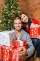 Happy Young Couple with Gift Boxes - PhotoDune Item for Sale