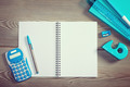 Open notebook with colorful stationery - PhotoDune Item for Sale