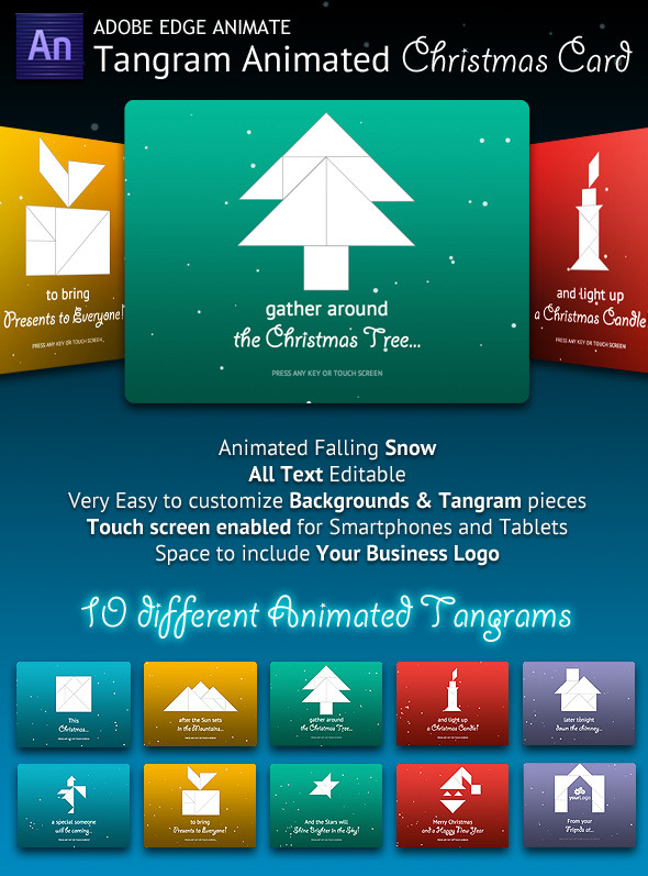 CodeCanyon Tangram Animated Christmas Card 9317481