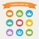 Vector icons set of different  white crowns shapes - GraphicRiver Item for Sale