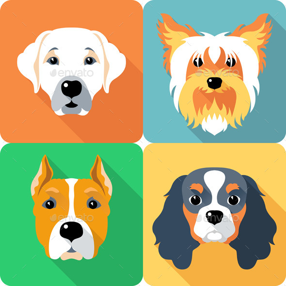 GraphicRiver Vector set Dogs Icon Flat Design 9317843